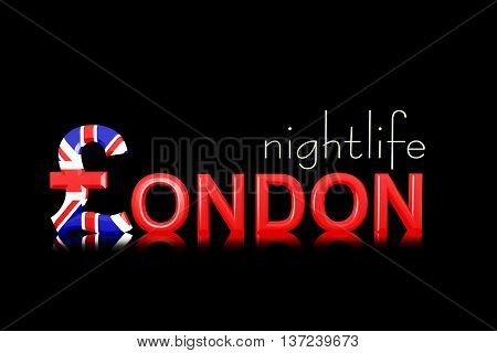 Text London Nightlife With Currency Symbol