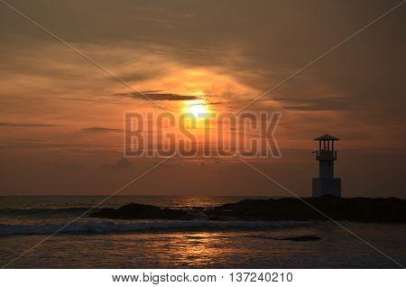 Lighthouse on beach in Khao Lak Phangnga Thailand