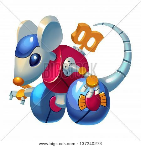 Wind-up Mouse Toy Car. Animal Mascot, Game Character Design isolated on White Background