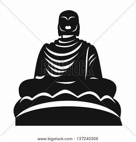 Buddha statue icon in simple style isolated vector illustration. Monuments symbol