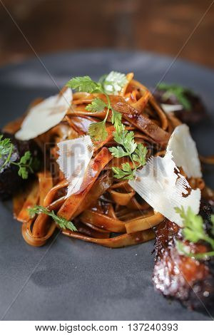 Beef cheek pasta on plate in the restaurant