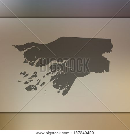 Guinea-Bissau map on blurred background. Blurred background with silhouette of Guinea-Bissau. Guinea-Bissau.