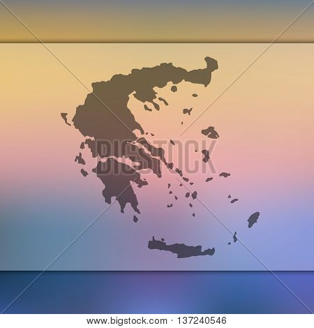 Greece map on blurred background. Blurred background with silhouette of Greece. Greece.