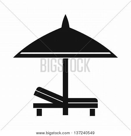 Bench and umbrella icon in simple style isolated vector illustration. Relax on the beach symbol