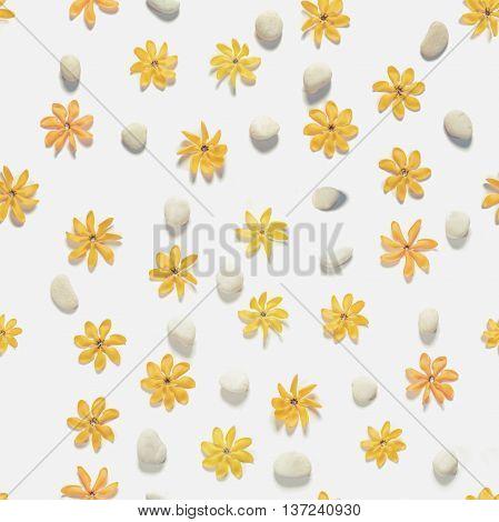 Seamless, yellow flowers and white pebbles stones, vintage tone