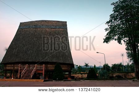 Gia Lai, Vietnam, June 15, 2016 high thatched roof, there is baptism called the Rong, ethnic Ede, Central Highlands province of Gia Lai, Vietnam