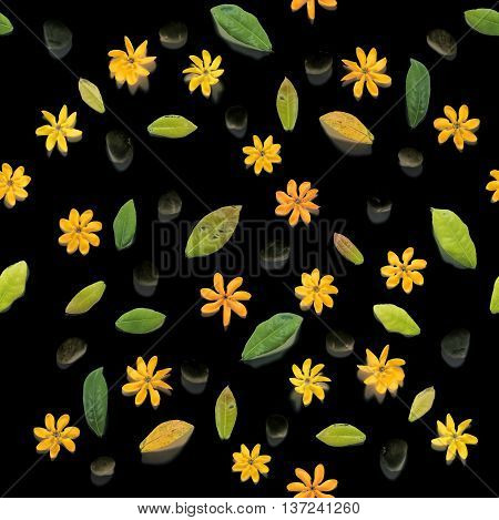 Seamless, yellow flowers and white pebbles stones, on black background