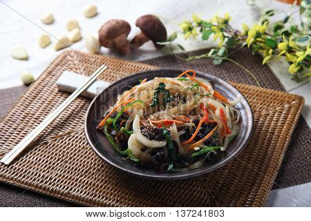 Vermicelli or spaghetti with mushroom on the table in restaurant