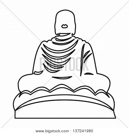 Buddha statue icon in outline style isolated vector illustration. Monuments symbol