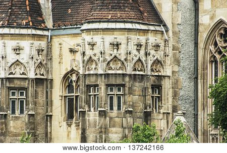 Beautiful Vajdahunyad castle in Budapest Hungary. Cultural heritage. Travel destination. Detail of architecture. Famous place. Tourism theme.