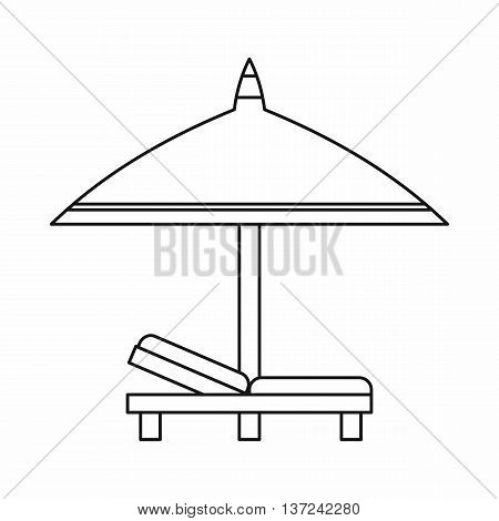 Bench and umbrella icon in outline style isolated vector illustration. Relax on the beach symbol