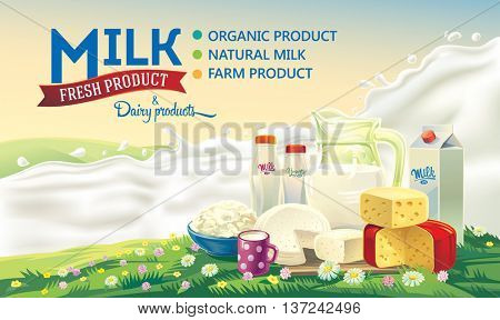 Still life of a set of dairy products on the background of splash of milk, and the rural summer landscape.