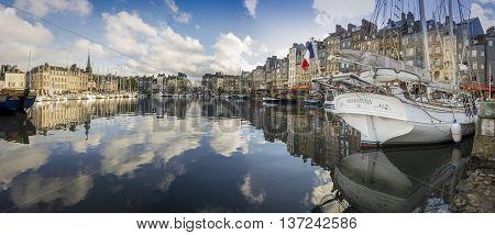 HONFLEUR HARBOUR, HONFLEUR, NORMANDY, FRANCE, 9 SEPTEMBER 2013 - Panorama of the harbour in Honfleur France
