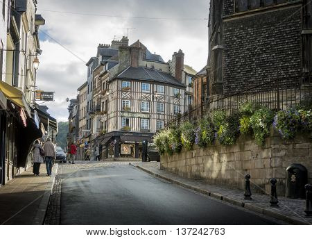 HONFLEUR, NORMANDY, FRANCE, 9 SEPTEMBER 2013 - View of a typical Normandic street in Honfleur France