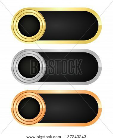 Vector set of empty rectangular banners of gold silver and bronze with black insert