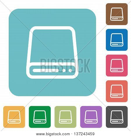 Flat hard disk drive icon set on round color background.