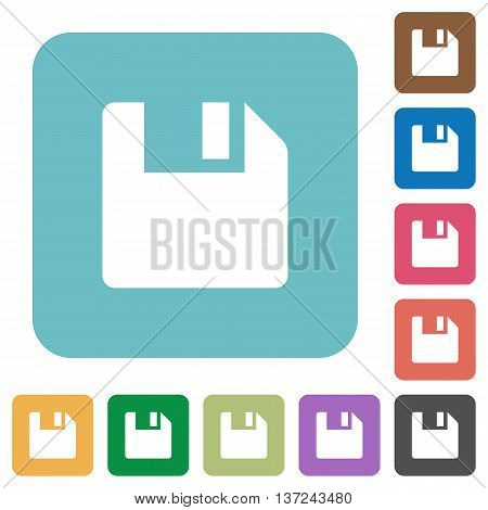 Flat save icon set on round color background.