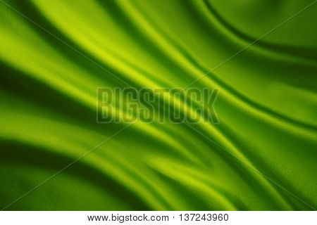 Silk Fabric Waves Background Abstract Green Satin Cloth Texture