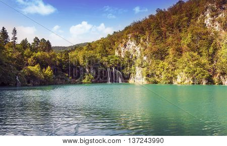 Breathtaking View In The Plitvice Lakes National Park Croatia