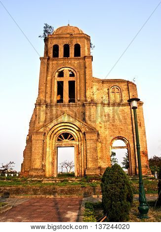 QUANG BINH, Vietnam, May 22, 2016 Architectural old church, Quang Binh Province, Vietnam. National cultural monuments