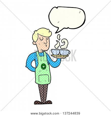 freehand drawn comic book speech bubble cartoon barista serving coffee