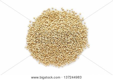 Organic Quinoa (Chenopodium quinoa) seeds isolated on white background. Macro close up. Top view.
