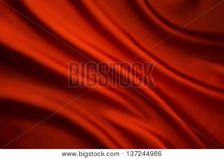 Silk Fabric Wave Background Abstract Red Satin Cloth Texture