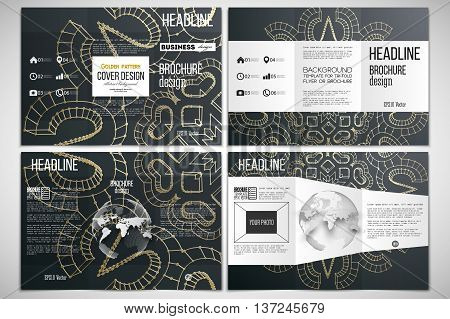 Vector set of tri-fold brochure design template on both sides with world globe element. Polygonal backdrop with golden connecting dots and lines, connection structure. Digital scientific background