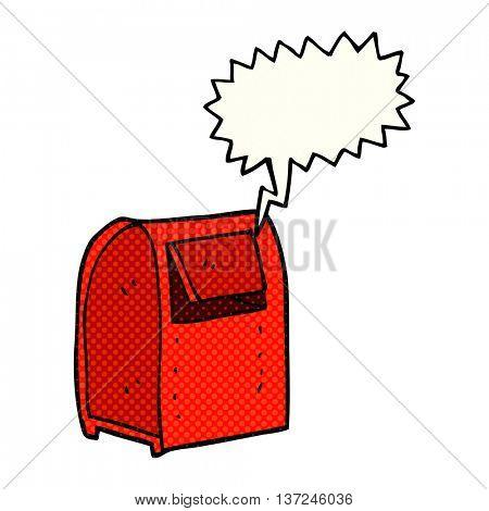 freehand drawn comic book speech bubble cartoon mailbox