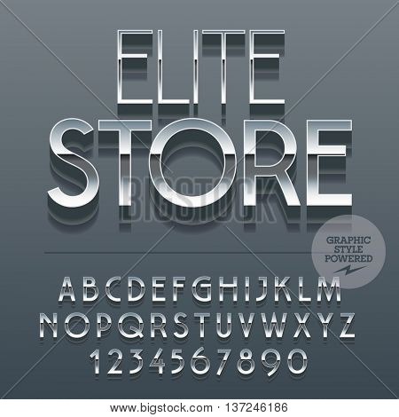 Set of slim reflective alphabet letters, numbers and punctuation symbols. Vector sign with text Elite store. File contains graphic styles