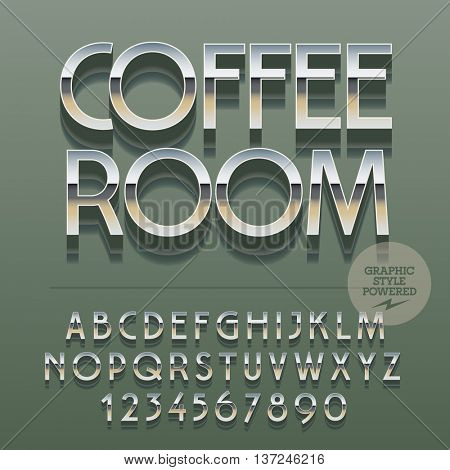 Set of slim reflective alphabet letters, numbers and punctuation symbols. Vector logo with text Coffee room. File contains graphic styles
