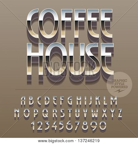 Set of slim reflective alphabet letters, numbers and punctuation symbols. Vector logotype with text Coffee house. File contains graphic styles
