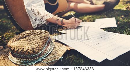Hippie Musician Songwriter Writing Concept