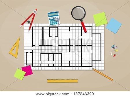Engineer workspace. blueprint. Engineering drawing project, Sketching building. ruler, calculator. vector illustration in flat style on brown background