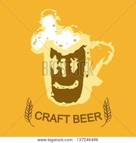 Beer mug. House crsfted beer. Template design for the logo. Glass mug ears and text on a yellow background.