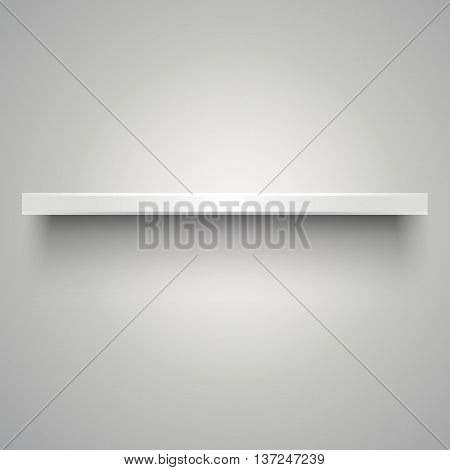 One empty white plastic shelve with shadow on grey light background. vector illustration