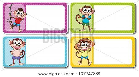 Square lables with cute monkeys illustration