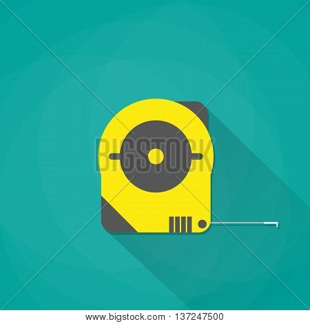 yellow industrial measure tape icon with long shadow, vector illustration in flat style on green background