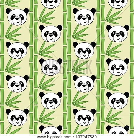 Cute panda, seamless vector illustration with cartoon pandas and bamboo