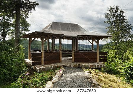 wooden summer house with a view to valley Tepelske udoli