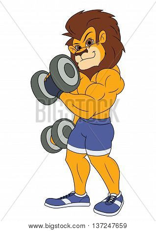 Illustration of the muscular smiling lion with dumbbells