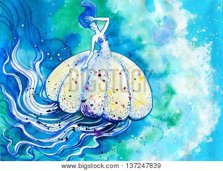 Jelly fish watercolor painting. Sea life hand drawn illustration with white medusa in blue ocean