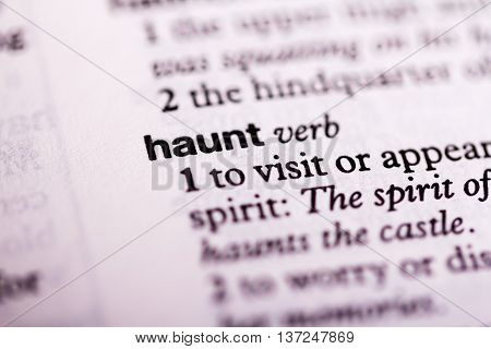Close Up Of The Dictionary Definition Of Haunt