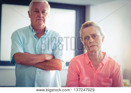 Portrait of unhappy senior couple after fight