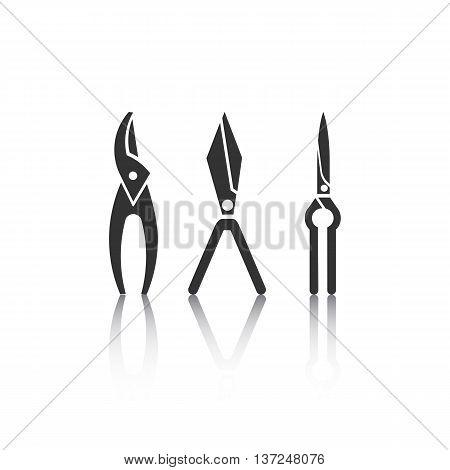 Set of icons - gardening tools. Web site design.