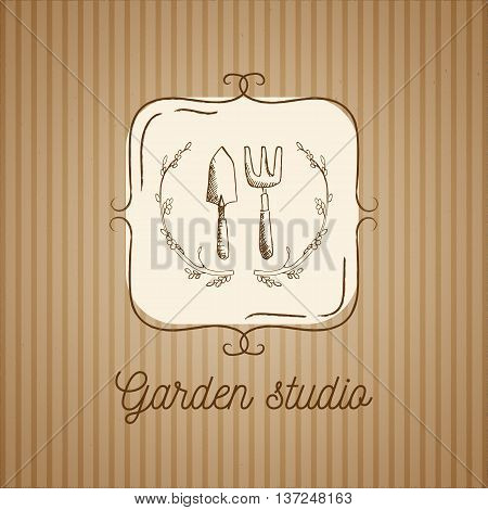 Vector garden emblem and logo design template. Garden studio - vintage illustration with hand drawn elements. Kraft paper