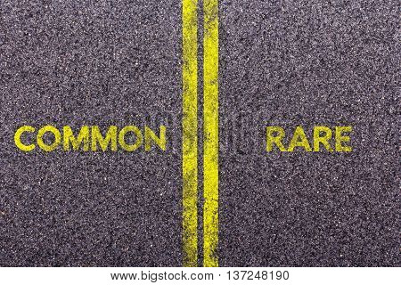 Tarmac With The Words Common And Rare