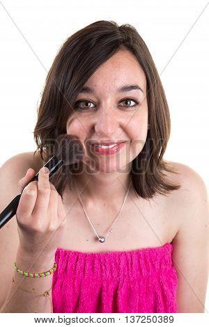 Beautiful Smiling Girl Applying Makeup, Blush On Cheek