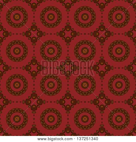 Abstract geometric seamless background. Regular concentric circles pattern in brown shades on dark red.