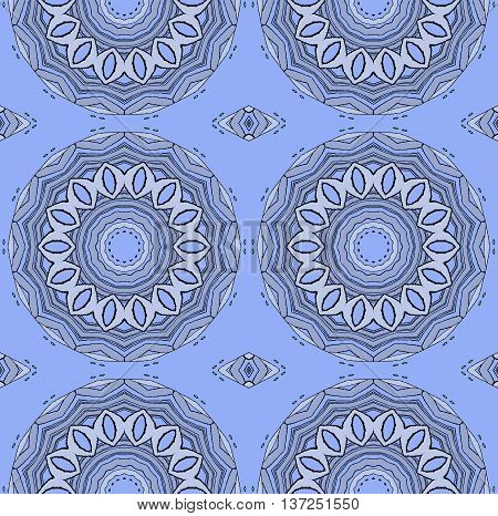 Abstract geometric seamless background. Regular ornate circles and diamond pattern silver gray and gray on light blue.